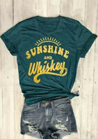 Women's Sunshine And Whiskey Short Sleeve Blouse Letter Printed Tee Top T-Shirt