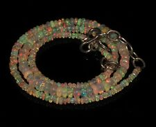 """30 Carat 16"""" 2 to 5 mm Natural Ethiopian Welo Fire Opal Bead Necklace -T1205"""