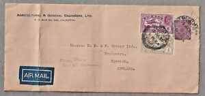 Long Commercial Airmail Cover Calcutta India To Ipswich 18th July 1930