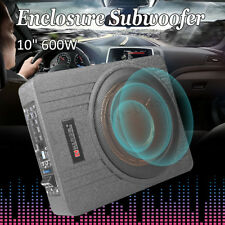10'' 600W Car Active Under Seat  Powered Subwoofer BASS Speaker Audio Enclosed