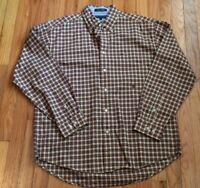 Mens Tommy Hilfiger L Cotton Plaid Flannel Long Sleeve Dress Casual Shirt Button