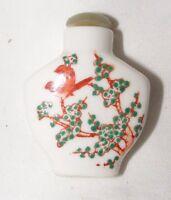 Antique Vintage Chinoises Peint à la Main Kutani Tabac Bouteille Jade Bouchon