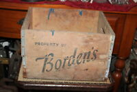 Antique Bordens Dairy Wood Milk Carrier Crate Americana Country Farm Decor