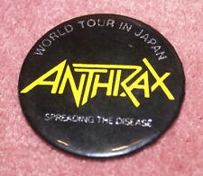 Anthrax Very Rare Vintage 1985 Japan Tour Metal Badge Pin Oop Htf Limited