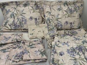 Croscill Queen Floral Bedskirt Iris Bamboo Purple Shams Cases Valance Set Lot 8
