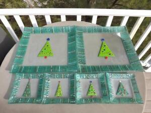 Gorham Christmas Splendor 6 Pc. Set 4 Fused Glass Appetizer Plates + 2 Platters