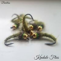 Olive Nymphs Size 10 Barbless (Set Of 3) Fly Fishing Trout Flies Dubbing