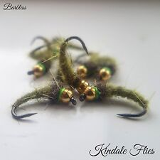 Olive Nymphs Size 12 Barbless (Set Of 3) Fly Fishing Trout Flies Dubbing