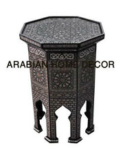 "Egyptian Moroccan 24"" Mother of Pearl Inlay Wood Coffee Side End Table"