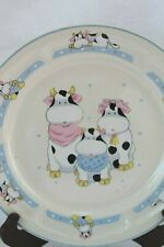 "Tienshan Stoneware Cartoon Cows Farm 10.5"" Dinner Plate Vintage Rare"