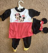 Newborn Baby Girl Outfit Disney Minnie Mickey Ears Cap Size 0-3 M Twins