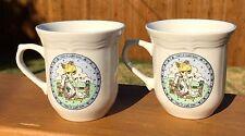 "2 Precious Moments ""Make A Joyful Noise"" White Coffee Cup Mugs/Tea Cups 1992"
