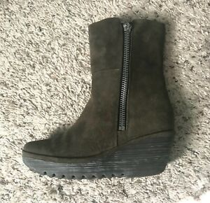 FLY London Brown Suede Wedge Mid calf Boots Size 40 US 10
