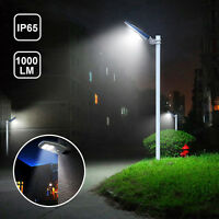 1000LM Solar LED Street Light Dusk to Dawn Sensor Outdoor IP65 Remote Timing