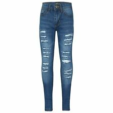 aee95659 Infantil Azul Medio Vaqueros Pitillo Denim Rasgado Moderno Elástico  Pantalones