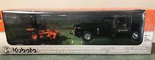 1/32 Kubota Dodge 3500 Pickup Truck w/Trailer M5-111 Farm Tractor Set New Ray