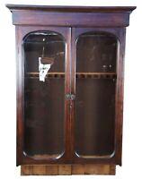 Antique 19th Century Victorian Walnut Hunt Cabinet Hutch Topper Gun Converted