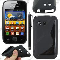 Housse Etui Coque Silicone Motif S-line Gel Noir Samsung Galaxy Y S5360 + Stylet