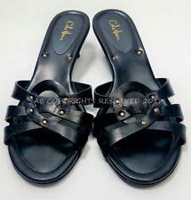 COLE HAAN D23998 Rhonda Black Woven Leather Kitten Heels Slides SANDALS 10 B