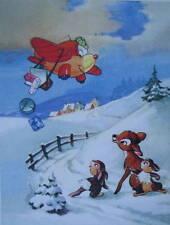 vintage art Disney Christmas Bambi Bunnys Plane