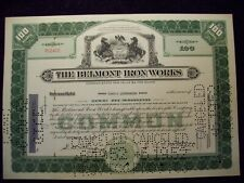 THE BELMONT IRON WORKS STOCK CERTIFICATE
