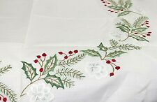 Gorgeous Table cloth Christmas Handimex Cotton Holly Berry Flower White German 4