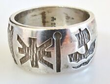 Modernist Irish sterling silver symbolic rich wide band ring size 6