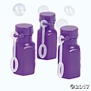 10 Mini Hexagon Purple Bubble Bottles With Bubble Solution - Oriental Trading -