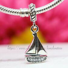 Authentic Pandora Sterling Silver Sail Away Sailboat Dangle Bead 791138CZ