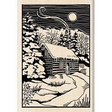 Snowy cabin in the wood mounted rubber stamp
