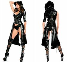 Ladies Black Gothic Punk Sweet Hooded Coat Cosplay Costume Club Sexy Fancy Dress