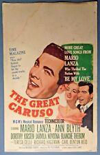 Vintage 1951 GREAT CARUSO Mario Lanza & Ann Blyth Window Movie Poster Card MGM