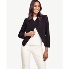 Ann Taylor L 12 P Black Wool Moto Jacket Blazer Snap Career