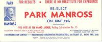 Vintage Ink Blotter Political Park Manross Conservative St Thomas ON Canada