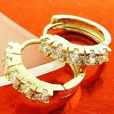 HUGGIE HOOP EARRINGS18K YELLOW G/F GOLD SOLID DIAMOND SIMULATED DESIGN FS3AN963