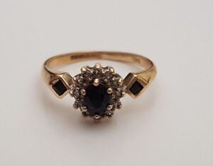 SAPPHIRE & DIAMOND 9CT YELLOW WHITE GOLD CLAW SET ENGAGEMENT CLUSTER RING 375