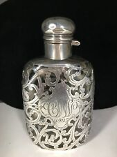 Beautiful Antique Fine Silver Overlay & Glass Ladies Flask c.1905