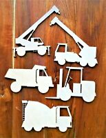 Construction Vehicles Cranes Trucks Transport Wooden Craft Shapes Laser Cut