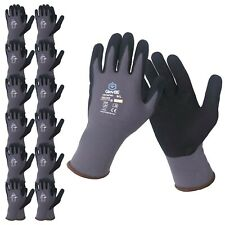 GlovBE 12 PAIRS Mechanic Nylon Work Gloves with Grip, Oil & Gas Resistant