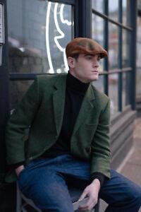 Aston Brown, Black, Rust, Olive Cabbie Winter Tweed Wool Leather Flat Cap