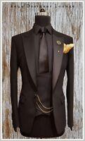 Men's Dark Brown 3 Piece Slim Fit Tuxedo Suit Formal Wedding Suit Custom