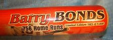 BARRY BONDS 756th ALL-TIME HOME RUN LEADER COMMEMORATIVE BASEBALL BAT - 8/7/2007