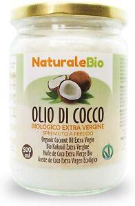 Olio di cocco Biologico Extra Vergine Non Raffinato Spremuto a freddo, 500 ml