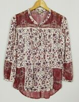 Lucky Brand Women's Medium Mixed Fabric Boho 3/4 Sleeve Embellished Top