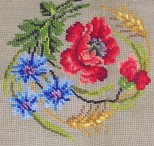 "Gorgeous 23"" x 23"" PREWORKED Needlepoint Gross Point Pretty Red Rose Poppy"