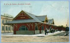 T. H. & B. - TRAIN DEPOT STATION - BRANTFORD, ONTARIO, CANADA - POSTCARD - 1911