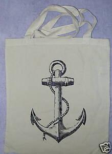 anchor tattoo pirate punk rock natural unbleached bag