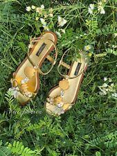 NIB $1015 Dolce & Gabbana Gold Seashell Embellished T-strap Sandals size 35.5