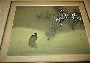 """1978 SIGNED DAVID LEE PAINTING ON SILK Foliage and Quail 38"""" x 47 1/2"""" Framed"""