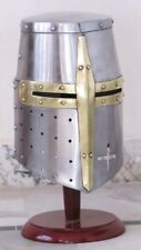 Medieval Templar Crusader Knight Armor Helmet With Wooden Stand